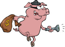 Pig robber. With a sack of money Royalty Free Stock Images