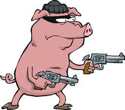 Pig robber. With two revolvers Royalty Free Stock Images