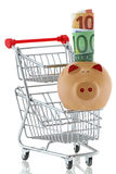 Pig with rolled Euro banknote sitting on a shopping push cart Stock Photos
