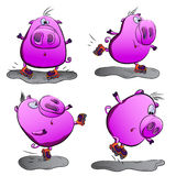 Pig on roller skates. The pig is learning to roller skate and perform various tricks, such as jumping Royalty Free Illustration