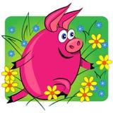Pig running on floral background. cartoon animal vector illustration
