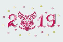 2019 and Pig`s Head isolated on background. stock photos