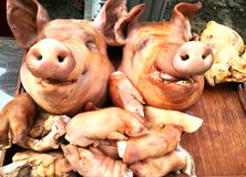 Pig`s head and side dish to worship God is to give Him our love in the Traditions Of Thailand. The Pig`s head and side dish to worship God is to give Him our Stock Photos
