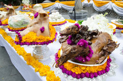 Pig's heads and ducks for sacrifice Stock Photos