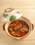 The pig's intestines & blood with hot sauce. Taiwan's famous cuisine -  the pig's intestines & blood with hot sauce Stock Image