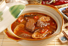 The pig's intestines & blood with hot sauce. Taiwan's famous cuisine -  the pig's intestines & blood with hot sauce Stock Photos