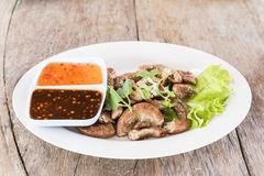 Pig's intestines grilled thai style food Royalty Free Stock Photos