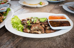 Pig's intestines grilled thai style food Stock Image