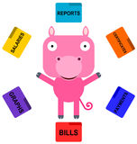 Pig's multi task Stock Image