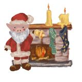 Pig Santa Claus near the fireplace. New Year. Christmas. Symbol 2019. Isolated. On white background stock illustration