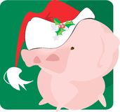 Pig with  Santa clause cap. On green back ground Royalty Free Stock Photos