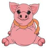 Pig with sausage Royalty Free Stock Photos