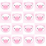 Pig seamless pattern. Pink pig faces seamless pattern Stock Image
