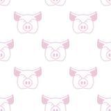 Pig seamless pattern. Boar head ornament. Pork texture. Cute far Stock Image
