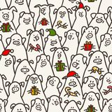 Pig seamless pattern. Funny pigs with candy canes, gifts and santa hats. 2019 Chinese New Year symbols. Doodle style stock image