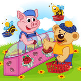 Pig seller of cakes. Vector illustration, eps Royalty Free Stock Image