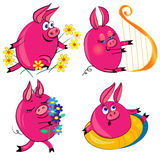 Pig set  illustration.cute animal isolated. Characters.none background Royalty Free Stock Photos