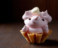 Pig shaped cupcake Stock Photography