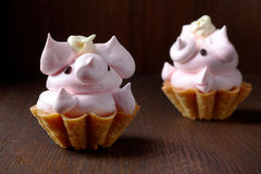 Pig shaped cupcake Royalty Free Stock Images