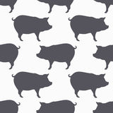 Pig silhouette seamless pattern. Pork meat background Royalty Free Stock Photo