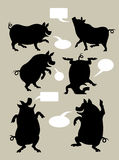Pig Silhouette Symbols Royalty Free Stock Image
