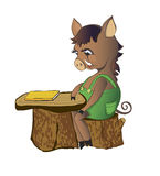 Pig sits at a school desk Stock Photo