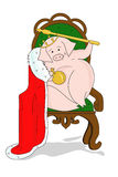 The pig sits on a throne Royalty Free Stock Photo