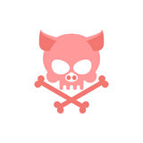 Pig skull with bones. Head skeleton of  pig. Logo for Halloween. Stock Photo