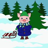 Pig with sleigh in thy snowy forest. stock illustration