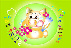 Pig smile and eat. Graphic cartoon pig I seemed aglow Mobile Spoon prepared gourmet dishes. Green background, decorated with flowers and line graphics Royalty Free Stock Photos