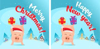 Pig in snow scene. Post card royalty free illustration