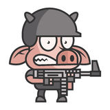 Pig soldier holding machine gun Stock Image