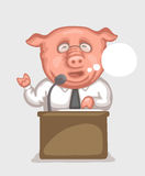 Pig-speaker behind a tribune. Pig dressed in white shirt with tie is making a speech using microphone at  tribune. Caricature of politician and official Royalty Free Stock Images