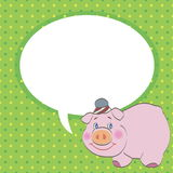 Pig with speech bubble vector Stock Photo