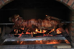 Pig on a spit. Pig roasting on a spit with logs burning in the background Stock Photo