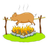 Pig on a spit Royalty Free Stock Photography