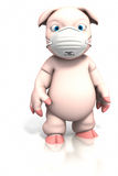 Pig standing with dust mask Royalty Free Stock Photos