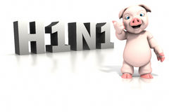 Pig standing in front of H1N1 text Stock Images