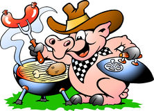 Pig standing and making BBQ. Hand-drawn Vector illustration of an Pig Stock Images