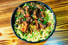 Pig Steak Noodles Stock Images