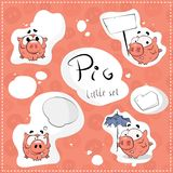 Pig stickers set Royalty Free Stock Photos