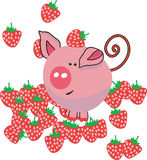 Pig in strawbeery field. Vector illustration of pig in strawbeery field Stock Images