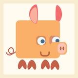 Pig stylized icon symbol. Good pig baby stylized pictogram symbol illustration Stock Photography