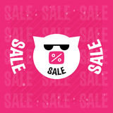 Pig in sunglasses with inscription sale. Vector illustraion or d Royalty Free Stock Photography