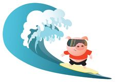 Vector illustration with a cute pig surfer royalty free illustration