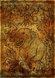 Pig symbol with heraldic weapon, baroque elements and vignette ribbons on antique texture background Stock Photos