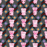 Pig symmetry style seamless pattern Stock Photos