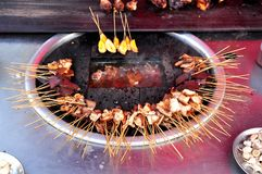 Pig tail- Myanmar street food stock image