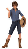 Pig tailed country girl. Country girl with pig tails wearing blue jeans cut at the knee holding straw hat Stock Images