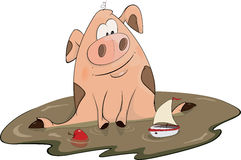 Pig and a toy ship cartoon Royalty Free Stock Photography